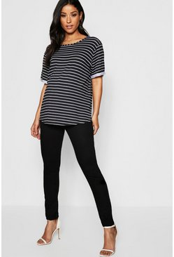 Womens Black Maternity Over The Bump Stretch Skinny Jeans