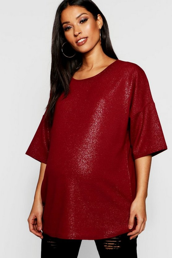 Berry Maternity Oversized Shimmer Metallic Tee