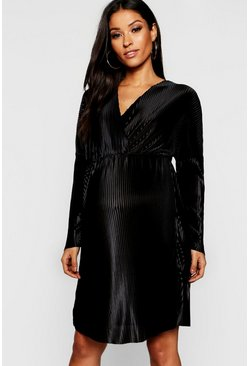 Womens Black Maternity Plisse Plunge Wrap Mini Dress