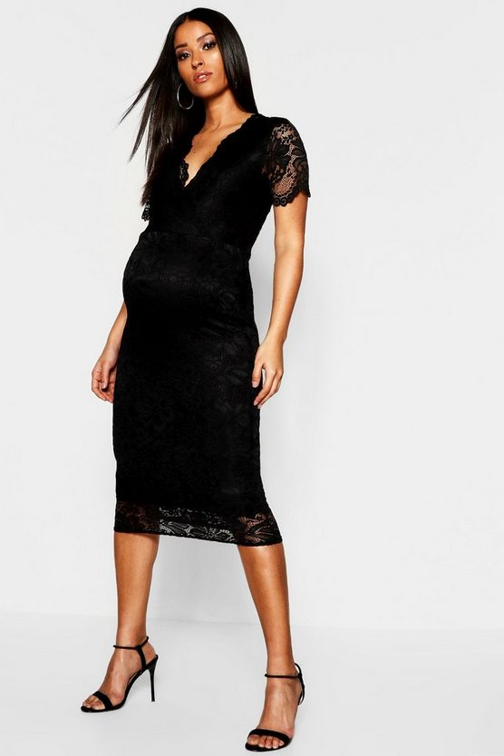 Maternity Plunge Lace Midi Dress