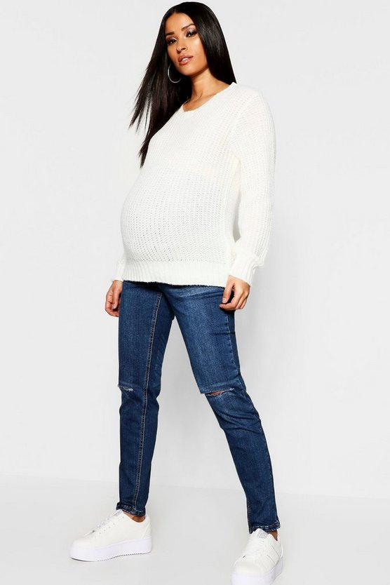 Womens Mid blue Maternity Over The Bump Knee Slit Jean