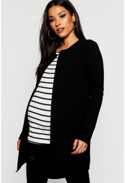 Black Maternity Collarless Smart Duster Jacket