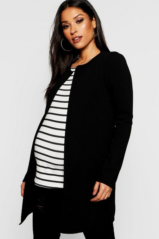Womens Black Maternity Collarless Smart Duster Jacket