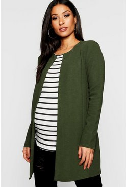 Dam Khaki Maternity Collarless Smart Duster Jacket
