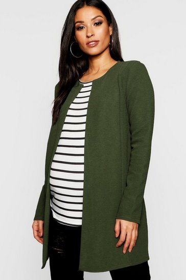 Womens Khaki Maternity Collarless Smart Duster Jacket