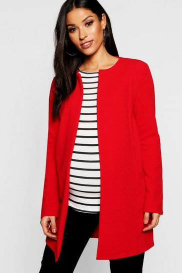 Womens Red Maternity Collarless Smart Duster Jacket