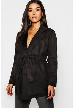 Womens Black Maternity Suedette Double Breasted Belted Jacket