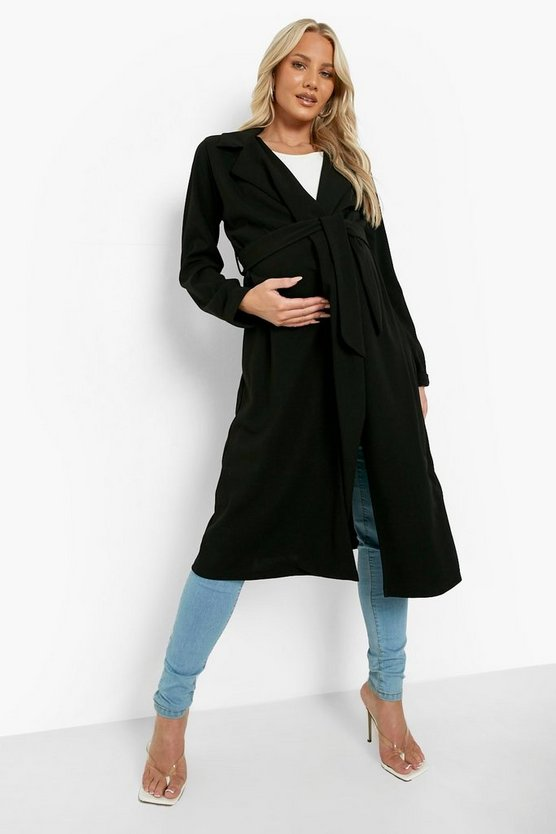 Womens Black Maternity Longline Duster Jacket