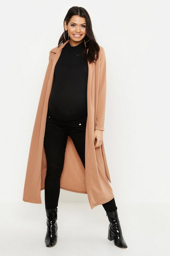 Womens Camel Maternity Longline Duster Jacket