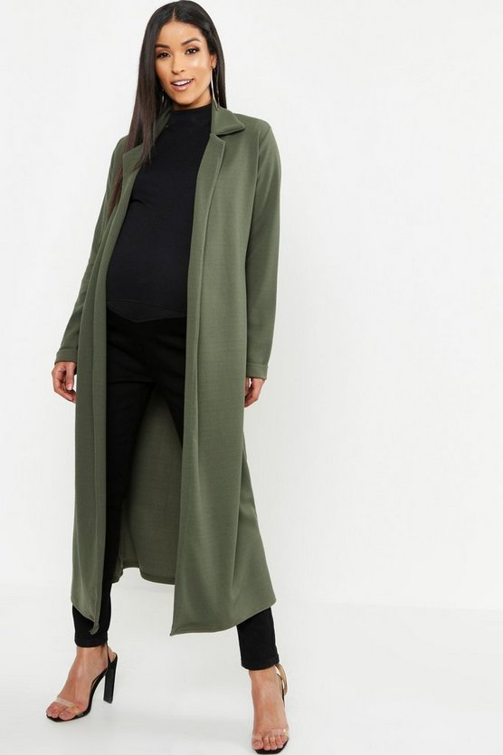 Womens Khaki Maternity Longline Duster Jacket