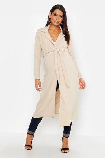 Womens Stone Maternity Longline Duster Jacket
