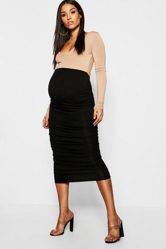 Maternity Gathered Side Midi Skirt