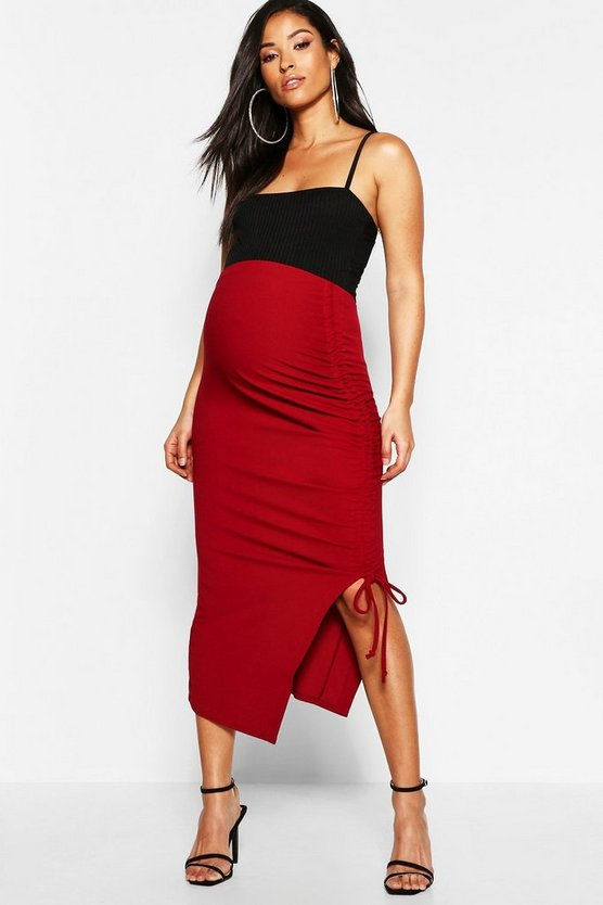 Maternity Ruched Side Split Midi Skirt