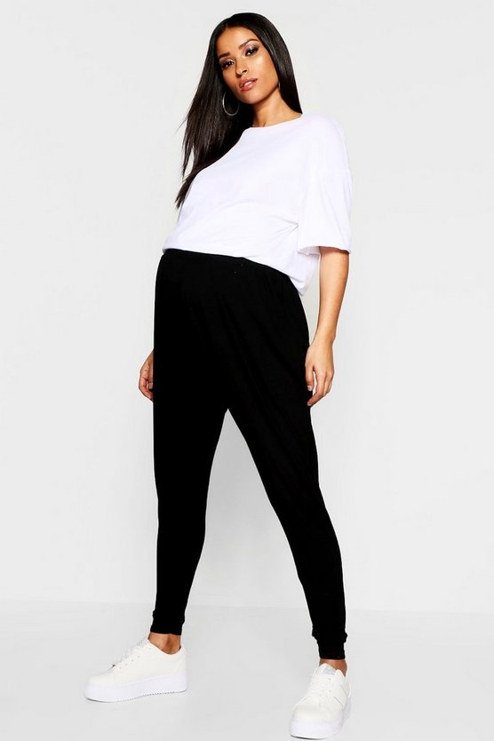 Womens Black Maternity Over The Bump Hareem Joggers