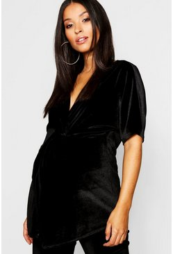 Womens Black Maternity Twist Front Kimono Sleeve Velvet Blouse