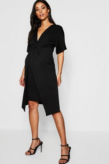 Black Maternity Twist Front Kimono Sleeve Midi Dress