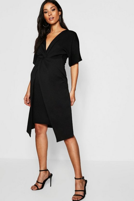 Womens Black Maternity Twist Front Kimono Sleeve Midi Dress