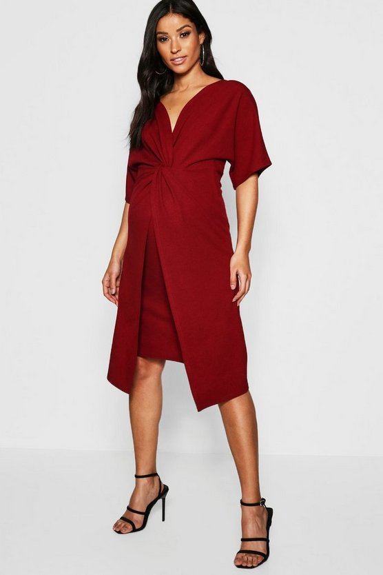 Maternity Twist Front Kimono Sleeve Midi Dress