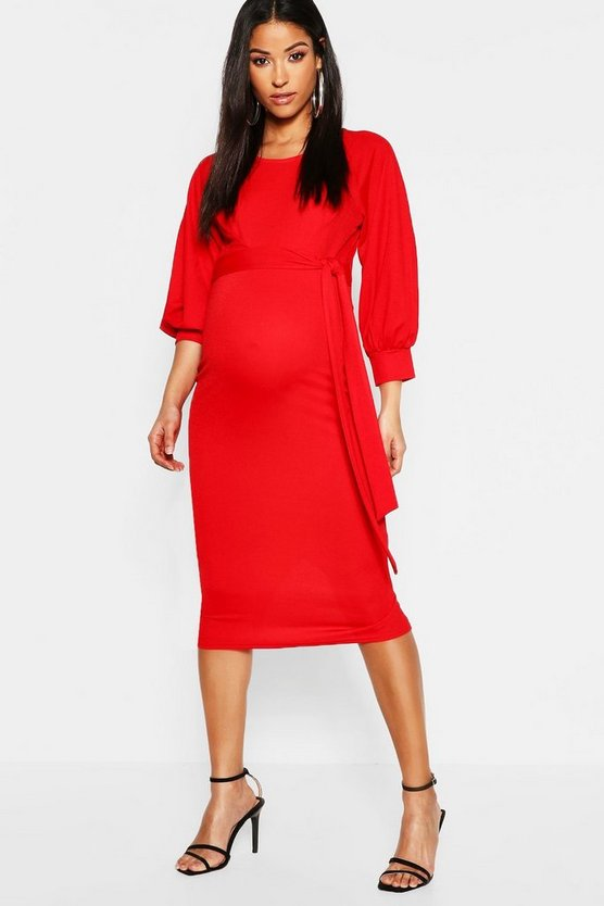 Maternity Balloon Sleeve Tie Waist Midi Dress