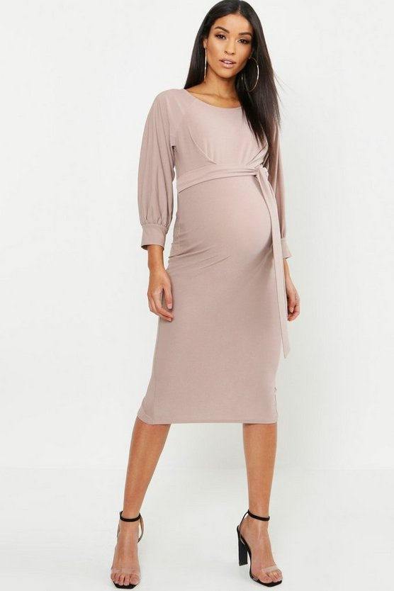 Womens Taupe Maternity Balloon Sleeve Tie Waist Midi Dress