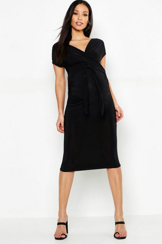 Womens Black Maternity Wrap Front Tie Waist Midi Dress