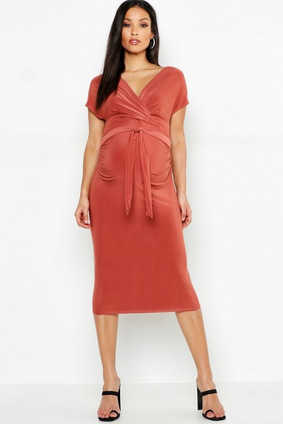 Maternity Wrap Front Tie Waist Midi Dress