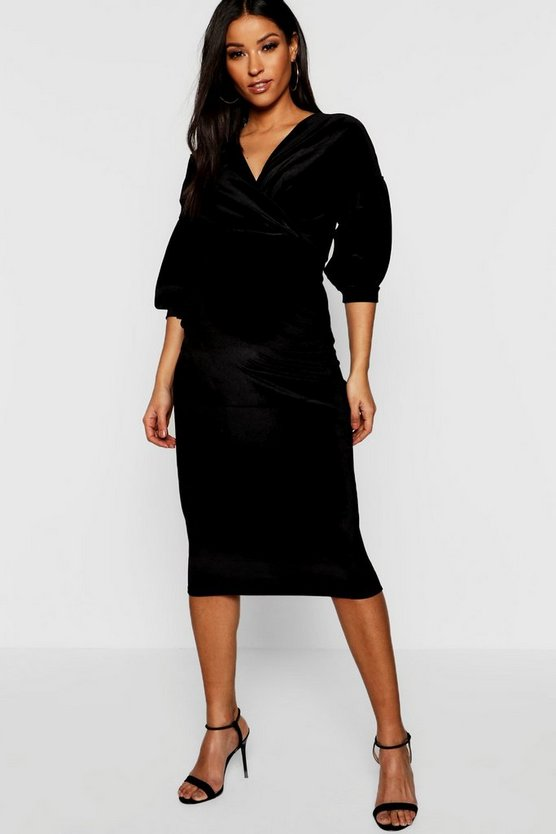 Black Maternity Velvet Off The Shoulder Wrap Midi Dress