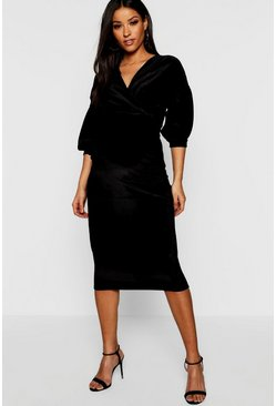 Womens Black Maternity Velvet Off The Shoulder Wrap Midi Dress