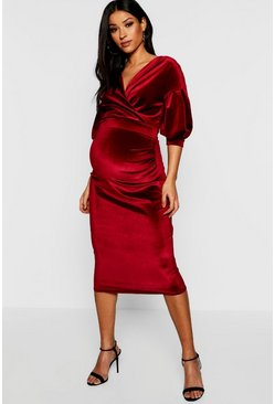 Dam Wine Maternity Velvet Off The Shoulder Wrap Midi Dress