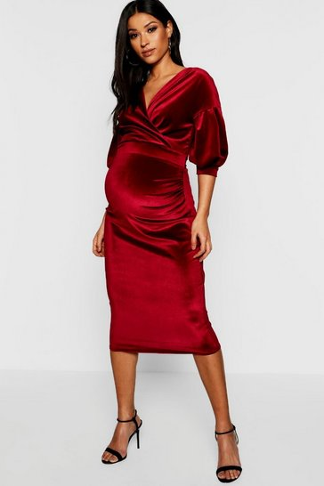 Womens Wine Maternity Velvet Off The Shoulder Wrap Midi Dress