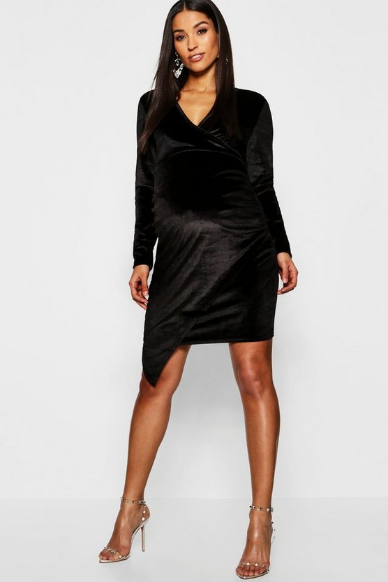 Womens Black Maternity Velvet Plunge Ruched Side Midi Dress