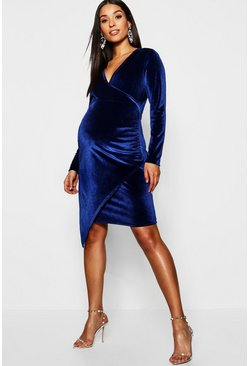 Dam Navy Maternity Velvet Plunge Ruched Side Midi Dress