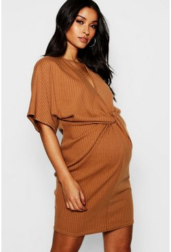 Womens Camel Maternity Rib Twist Kimono Sleeve Dress