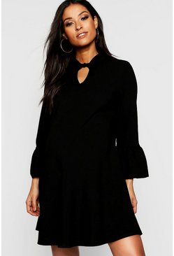 Womens Black Maternity Tie Neck Frill Sleeve Swing Dress