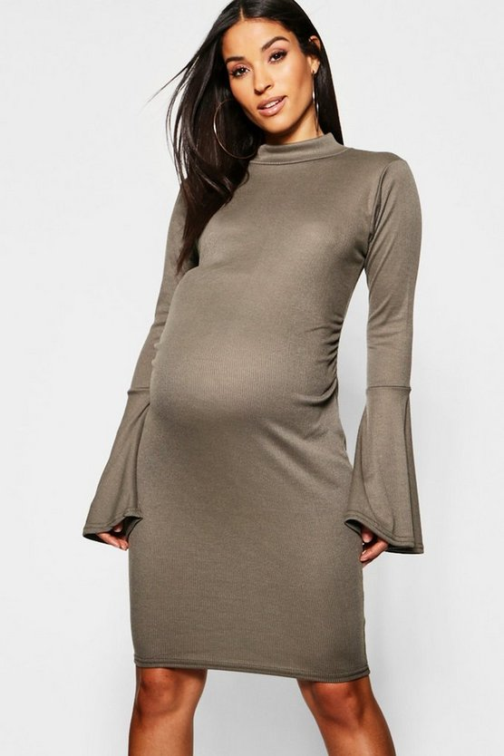 Maternity Rib Flute Sleeve Bodycon Midi Dress