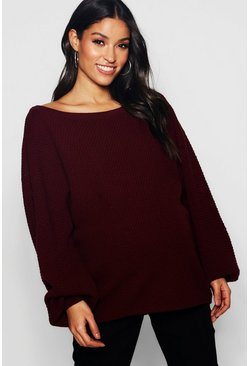 Womens Wine Maternity Basket Knit Sweater