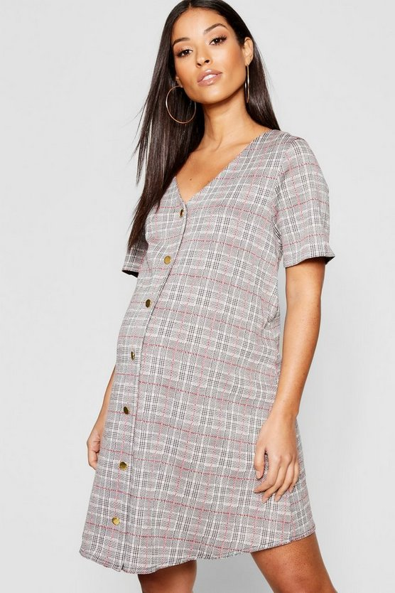 Womens Grey Maternity Check Jacquard Gold Button Shift Dress