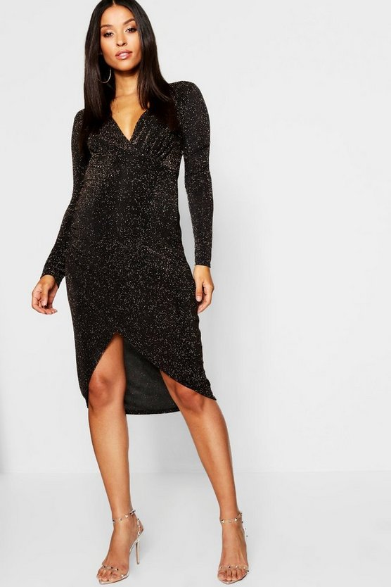 Maternity Shimmer Plunge Wrap Dress