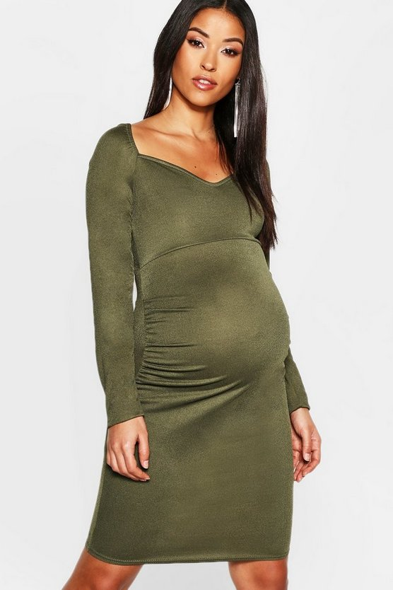 Womens Khaki Maternity Sweetheart Neck Midi Dress