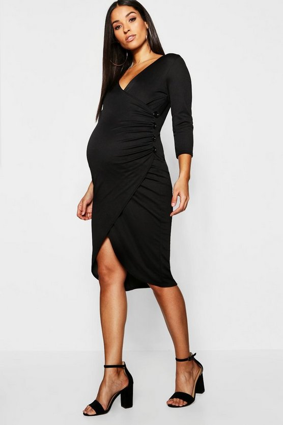 Maternity Plunge Ruched Side Button Midi Dress