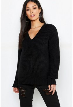 Womens Black Maternity V Neck Knitted Jumper