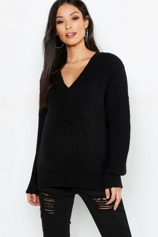 Maternity V Neck Knitted Jumper