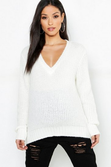 Womens Ivory Maternity V Neck Knitted Jumper