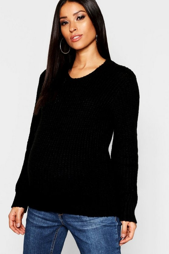 Maternity Crew Neck Knitted Jumper