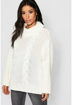 Maternity Roll Neck Cable Knit Jumper, Ivory, Женские