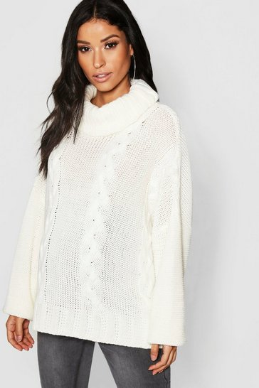 Womens Ivory Maternity Roll Neck Cable Knit Jumper
