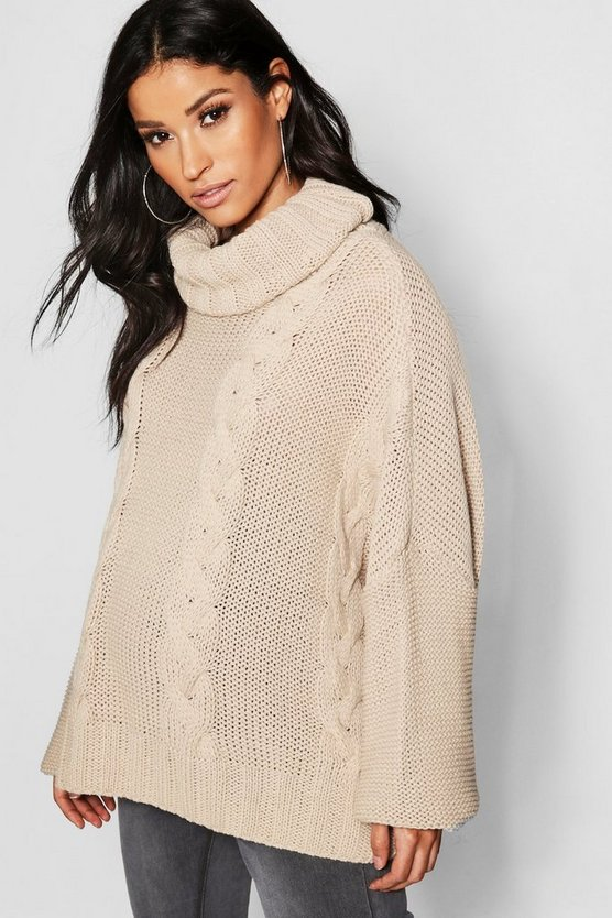 Maternity Roll Neck Cable Knit Jumper