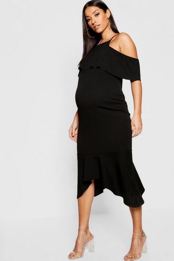 Maternity Cold Shoulder Frill Midi