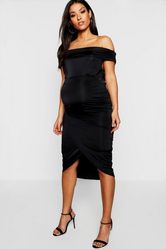Maternity Slinky Bardot Wrap Dress