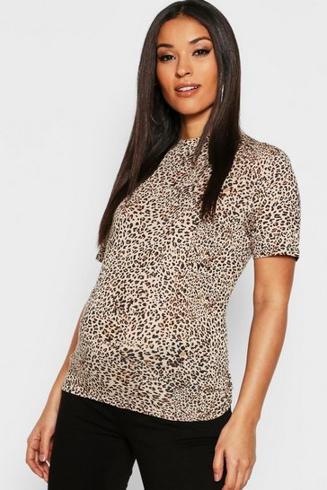 Womens Brown Maternity Leopard High Neck Top